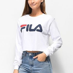 FILA Logo White Crop Long Sleeve T-Shirt